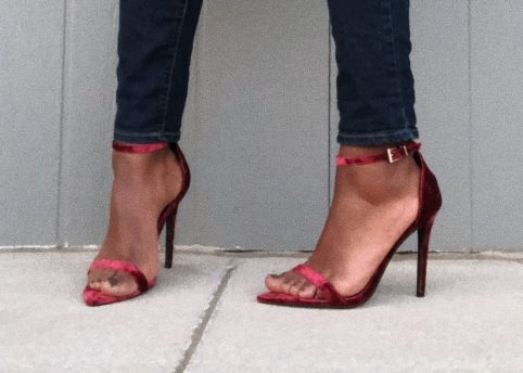 Velvet Pointed Toe Barely There Heels Burgundy - Missguided